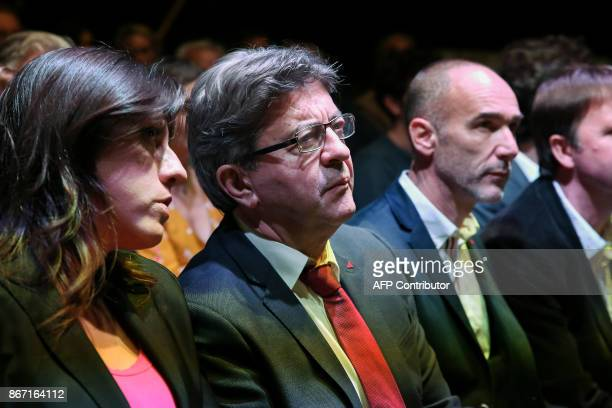 French farleft leader JeanLuc Melenchon and the leader of the Course of Freedom political party Zoe Konstantopoulou attend a conference in Athens on...