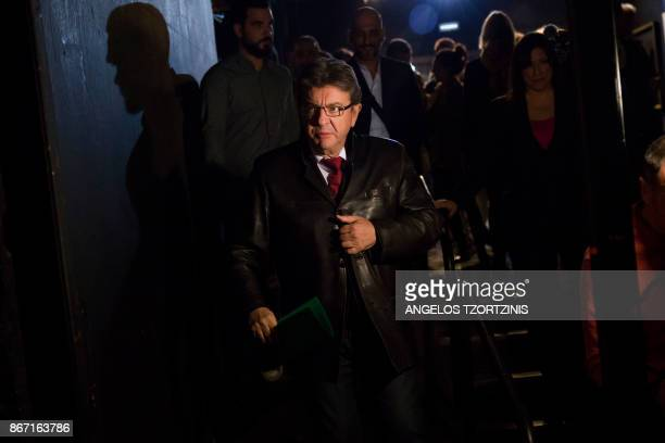 French farleft leader JeanLuc Melenchon arrives to a conference organised by the leader of the Course of Freedom political party in Athens on October...