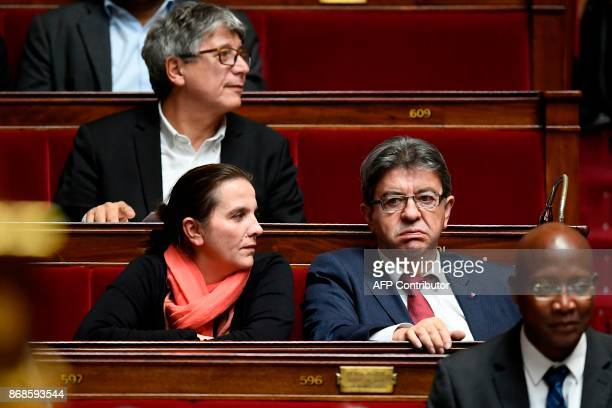 French farleft leader JeanLuc Melenchon attends a session of questions to the government at the French National Assembly in Paris on October 31 2017...