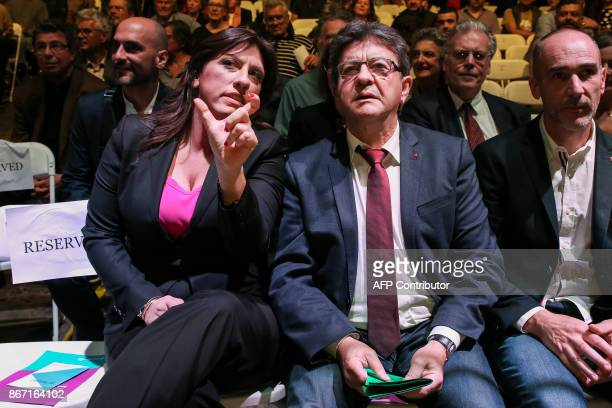 French farleft leader JeanLuc Melenchon sits next to the leader of the Course of Freedom political party Zoe Konstantopoulou prior a conference in...