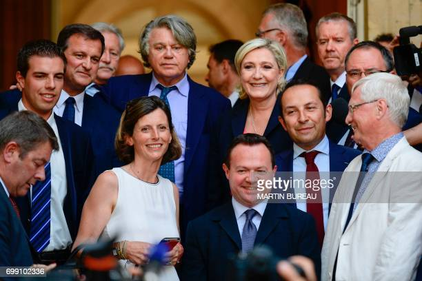 French farrigh Front National party's newly elected Members of Parliament Ludovic Pajot Louis Aliot Emmanuelle Menard Gilbert Collard Bruno Bilde...