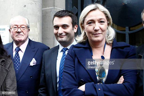 French farright FN party president Marine Le Pen poses with her father JeanMarie Le Pen and Florian Philippot at the Ministry of the Interior in...