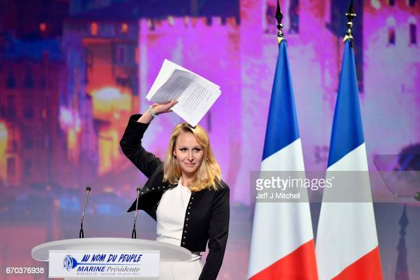 French farright Front National deputy Marion Marechal Le Pen gestures on stage during a campaign meeting of French presidential election candidate...