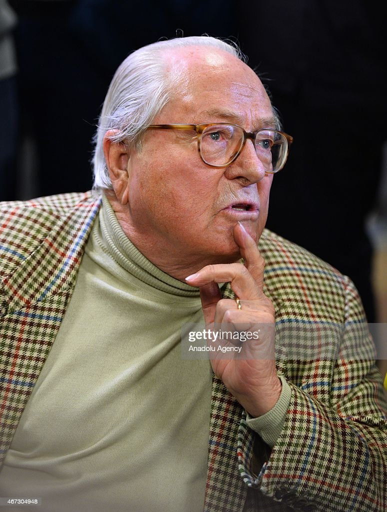 French far-right Front National party honorary president <a gi-track='captionPersonalityLinkClicked' href=/galleries/search?phrase=Jean-Marie+Le+Pen&family=editorial&specificpeople=214017 ng-click='$event.stopPropagation()'>Jean-Marie Le Pen</a> speaks to the press after the announcement of the first round of the French departmental elections' results at the party headquarters in Paris, France on March 22, 2015.