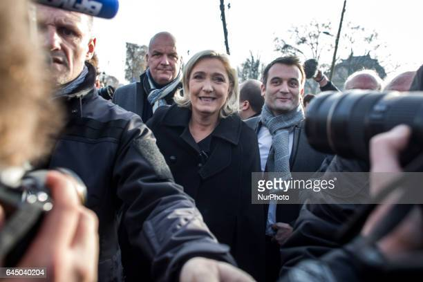 French farright Front National party president member of European Parliament and candidate for France's 2017 presidential election Marine Le Pen with...