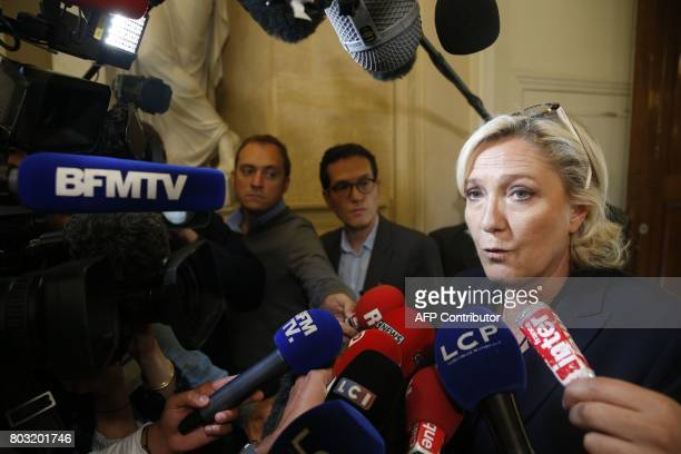French farright Front National party's Member of Parliament Marine Le Pen addresses the media on June 29 2017 at the French National Assembly in...