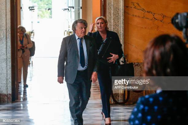 French farright Front National party's Members of Parliament Marine Le Pen and Gilbert Collard arrive on June 29 2017 at the French National Assembly...