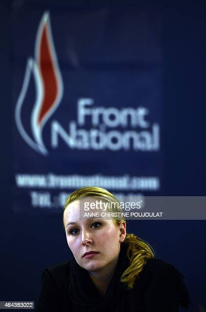 French farright Front National party's MP Marion MarechalLe Pen general secretary of the FN's Vaucluse department Federation gives a press conference...