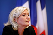 French farright Front National party's president Marine le Pen gives a press conference on March 25 2014 at the party's headquarters in Nanterre near...