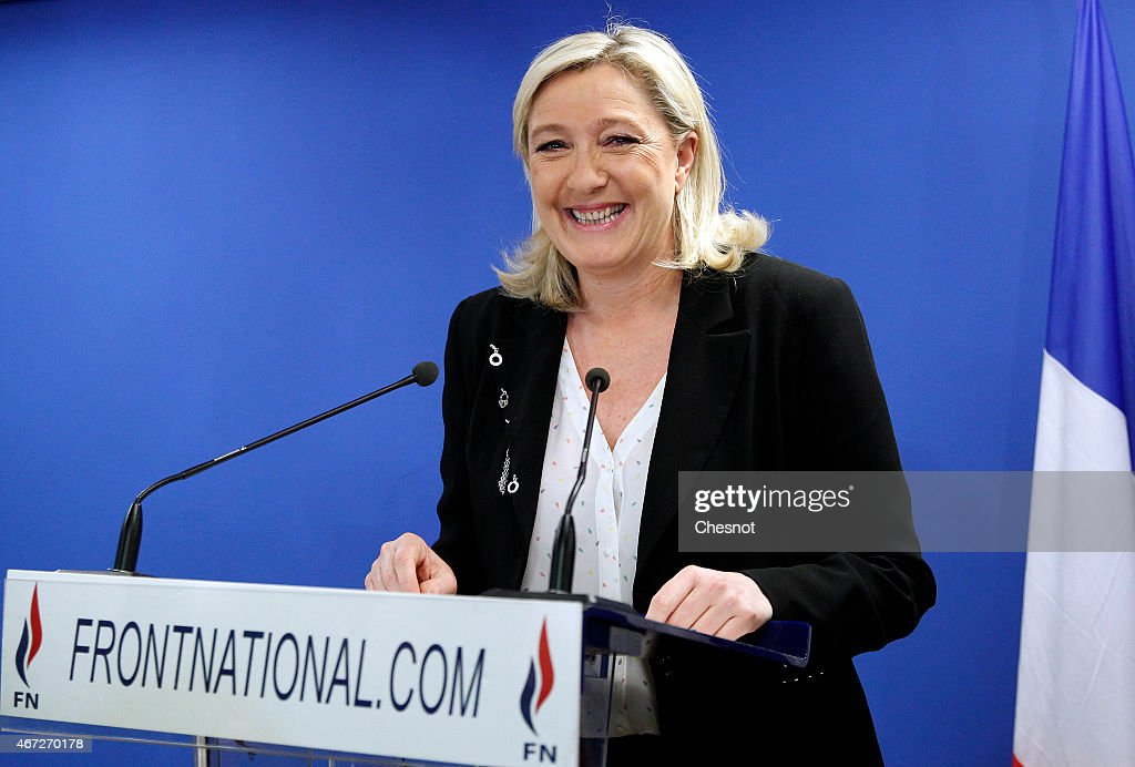 French far-right Front National (FN) President <a gi-track='captionPersonalityLinkClicked' href=/galleries/search?phrase=Marine+Le+Pen&family=editorial&specificpeople=588282 ng-click='$event.stopPropagation()'>Marine Le Pen</a> delivers a speech following the anouncement of results for the first round of the French departementales elections on March 22, 2015 in Nanterre, France. Results indicated that the far-right National Front (FN) has emerged with 24% of the vote.