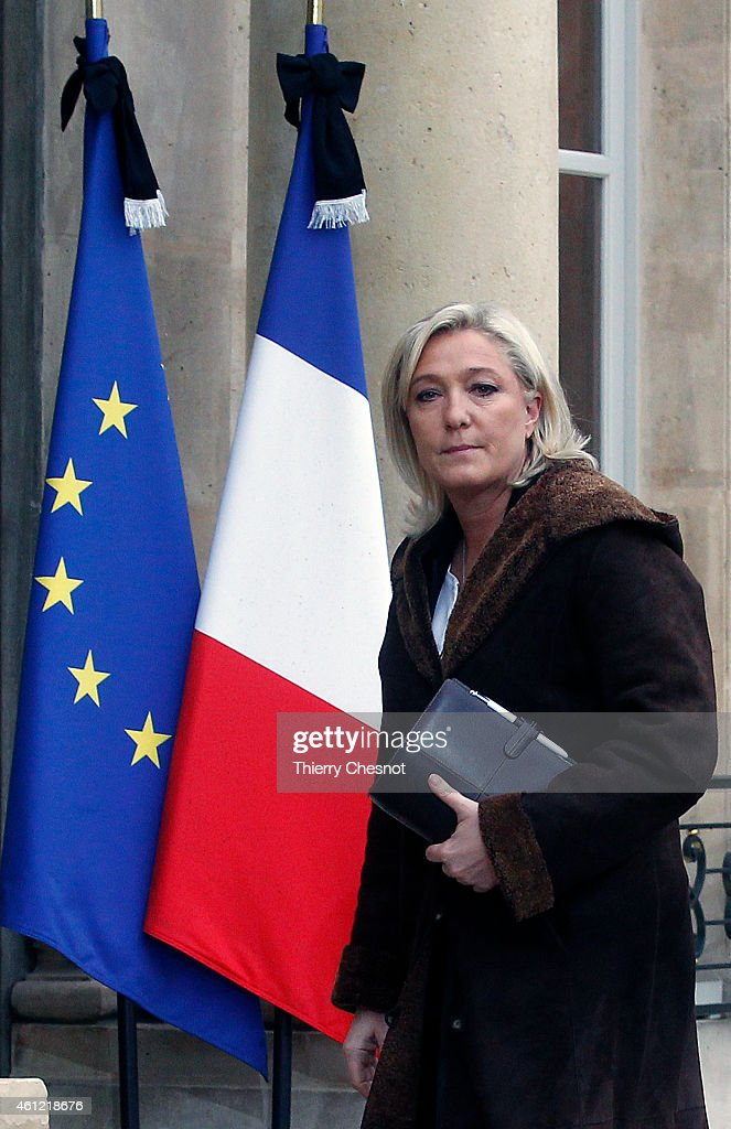 French far-right National Front leader (FN) Marine Le Pen arrives at the Elysee Palace on January 9, 2015 in Paris, France to meet with French President, Francois Hollande.Two days after a deadly attack that occurred on January 7 by armed gunmen on the Paris offices of French satirical weekly newspaper Charlie Hebdo. France deployed elite forces in the hunt for two brothers accused of killing 12 people in the attack, as the pair spent a second night on the run despite a huge security operation.