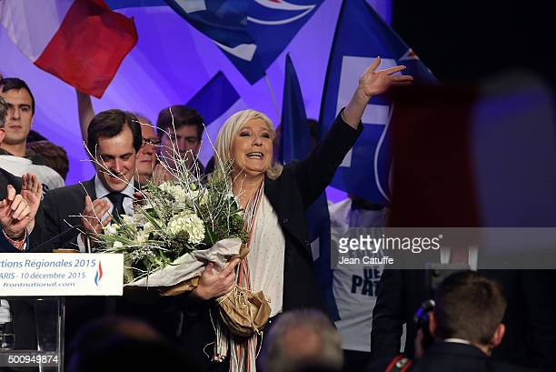 French farright National Front President and candidate in the NordPasdeCalais Picardie region Marine Le Pen thanks the audience following the meeting...