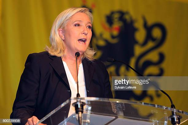 French FarRight National Front President Marine Le Pen during her speech after the announcement of the results of the first round of the regional...