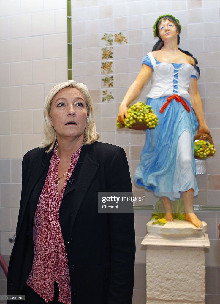 French far-right National Front's (FN) Leader <a gi-track='captionPersonalityLinkClicked' href=/galleries/search?phrase=Marine+Le+Pen&family=editorial&specificpeople=588282 ng-click='$event.stopPropagation()'>Marine Le Pen</a> is seen during her visit to a winemaker at a vineyard on November 27, 2013 in Sens, France.