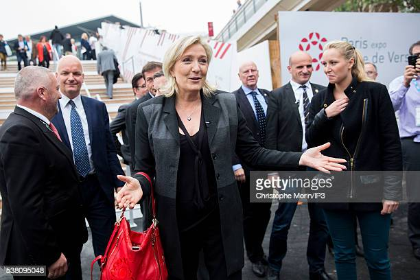 French farright political party National Front leader and candidate to the presidential election 2017 Marine Le Pen and Front National party member...