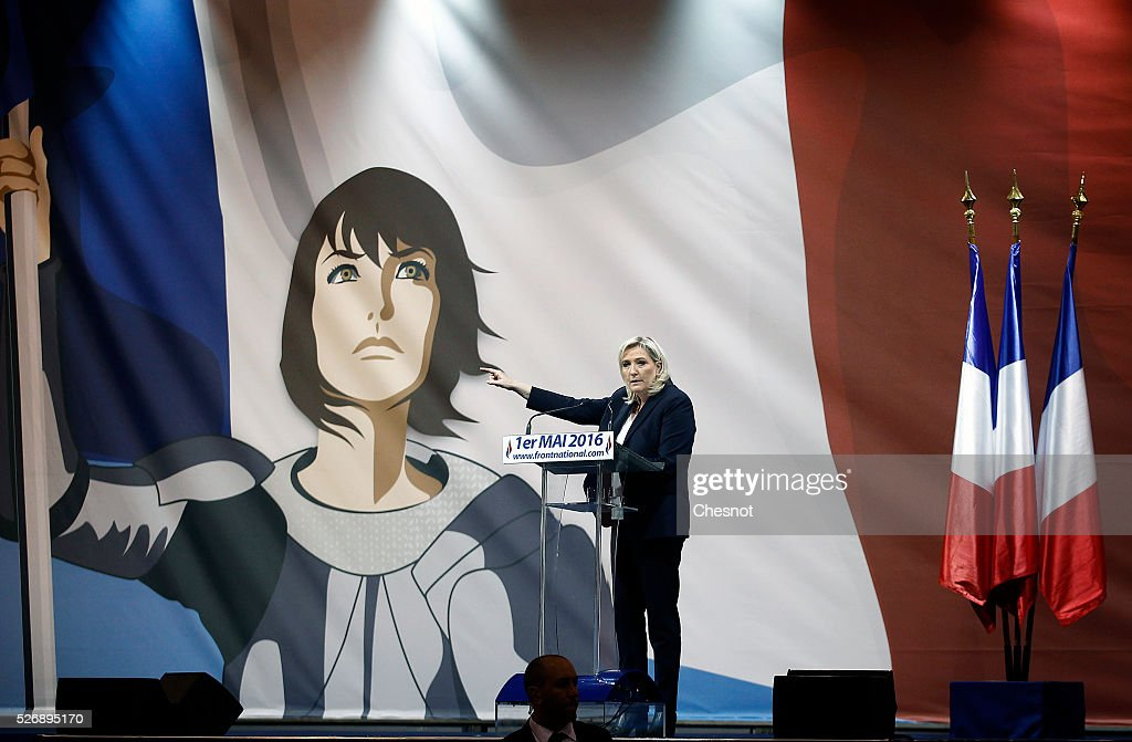 French far-right political party National Front (FN) leader Marine Le Pen delivers a speech during the party's traditional Joan of Arc (Jeanne d'Arc) May Day rally on May 1, 2016 in Paris, France. Labor Day or May Day is observed all over the world on the first day of the May to celebrate the economic and social achievements of workers and to fight for laborers' rights.