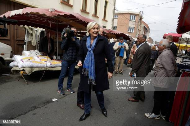 French farright political party National Front leader Marine Le Pen starts FN campaign For France Parliamentary elections on May 19 2017 in...