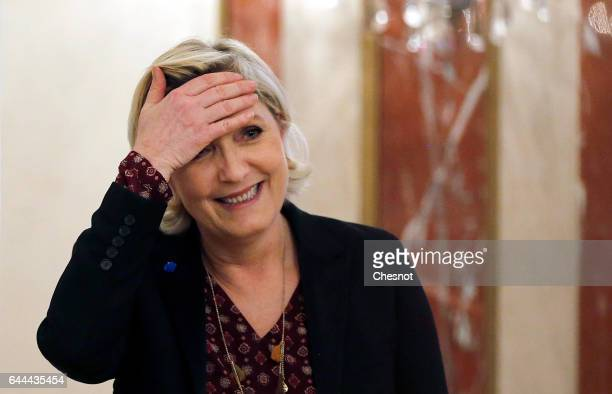 French farright political party National Front President Marine Le Pen gestures after a press conference focused on the theme 'France's international...