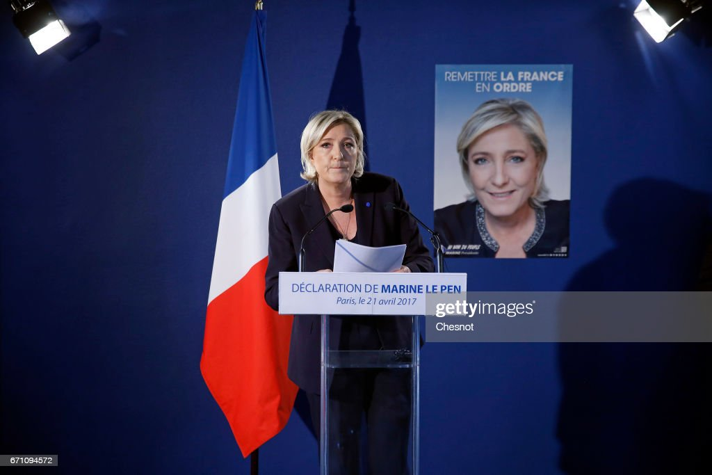 French far-right political party National Front (FN) President, Marine Le Pen makes a statement during a press conference on April 21, 2017 in Paris, France. Le Pen is candidate for the France's 2017 presidential elections and was reacting to the attack in which a policeman was killed on the Champs-Elysees last night.