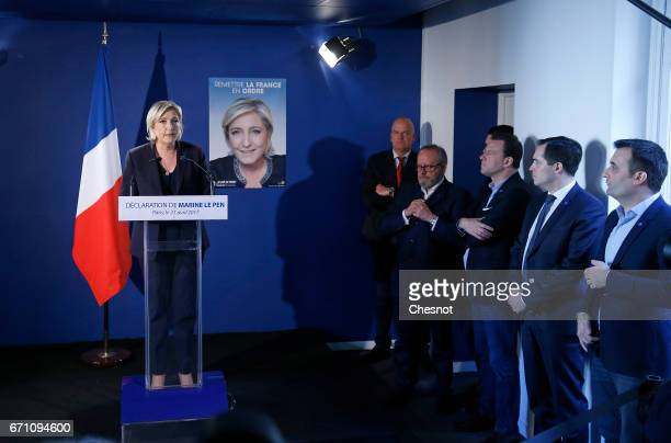 French farright political party National Front President Marine Le Pen makes a statement during a press conference on April 21 2017 in Paris France...