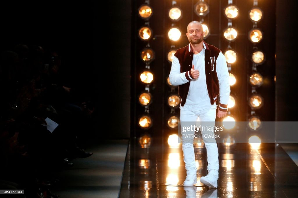 French fashion designer Alexandre Vauthier acknowleges the public at the end of his Haute Couture SpringSummer 2014 collection show on January 21...