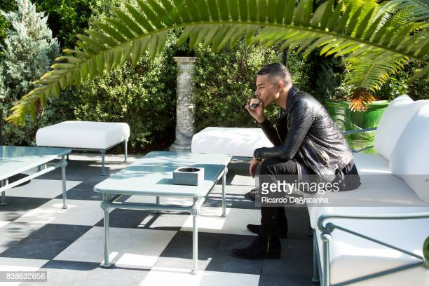 French fashion designer and Balmain's creative director Olivier Rousteing is photographed in the Melrose Place Balmain store for Los Angeles Times on...
