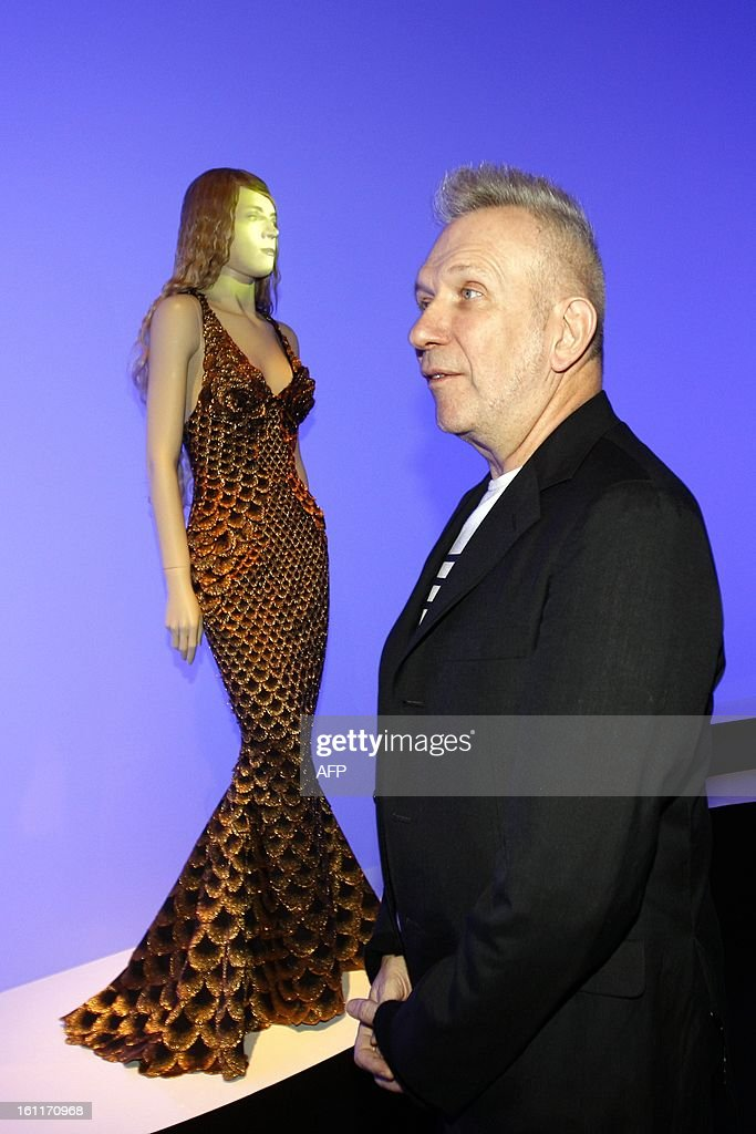 French fashion designer Jean-Paul Gaultier attends the opening of the exhibition 'The Fashion World of Jean Paul Gaultier: From the Sidewalk to the Catwalk' at the Kunsthal museum in Rotterdam, on 9 February 2013. The exhibition will run from February 10 to May 12s. netherlands out