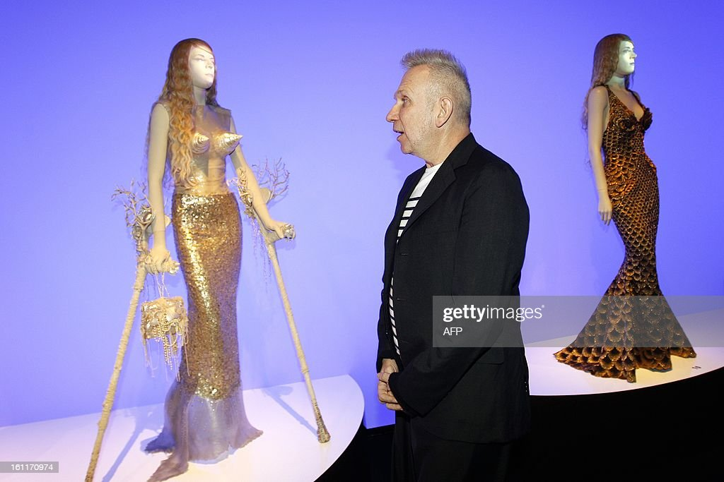 French fashion designer Jean-Paul Gaultier attends the opening of the exhibition 'The Fashion World of Jean Paul Gaultier: From the Sidewalk to the Catwalk' at the Kunsthal museum in Rotterdam, on 9 February 2013. The exhibition will run from February 10 to May 12s. AFP PHOTO / ANP KIPPA / BAS CZERWINSKI netherlands out