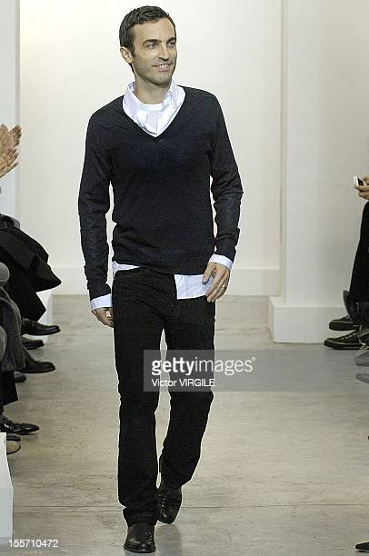 French fashion designer Nicolas Ghesquiere at the finale of his Balenciaga Ready to Wear Fall/Winter 2006 show as part of the Paris Fashion Week on...