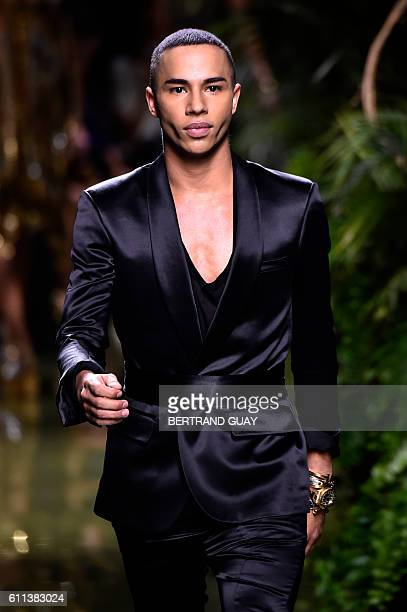 French fashion designer Olivier Rousteing for Balmain acknowledges the audience at the end of the 2017 Spring/Summer readytowear collection fashion...