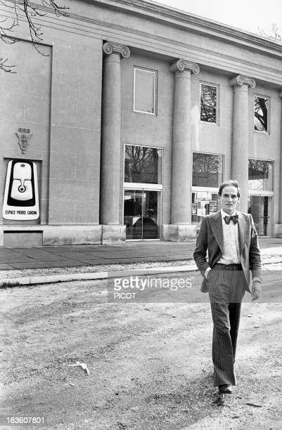 French fashion designer Pierre Cardin in front of the Espace Pierre Cardin in Paris France on February 23 1976