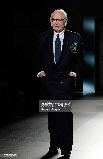French fashion designer Pierre Cardin presents his latest creations during the 080 Barcelona fashion week on January 28 2012 in Barcelona Spain
