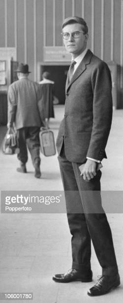 French fashion designer Yves Saint Laurent arriving at London Airport 12th September 1958 He is in the UK to arrange a show of his Autumn collection...