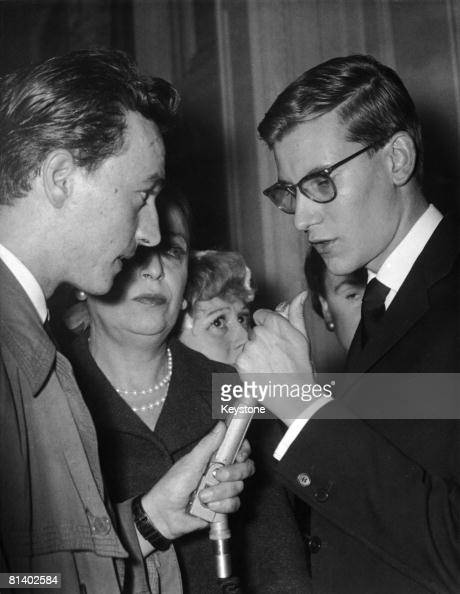 French fashion designer Yves Saint Laurent gives his first interview since succeeding the late Christian Dior to a radio reporter in Paris 1957