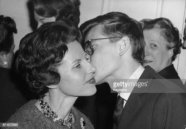 French fashion designer Yves Saint Laurent greets his mother after the success of his new spring and summer collection for Dior Paris 29th January...