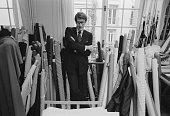 French fashion designer Yves Saint Laurent in his Paris studio January 1982