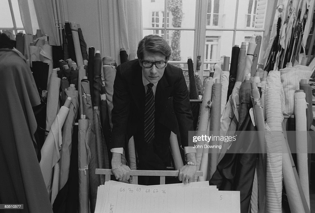 French fashion designer Yves Saint Laurent in his Paris studio January 1982