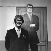 French fashion designer Yves St Laurent originally Henri Donat Mathieu in his Paris boutique with a replica dummy of himself