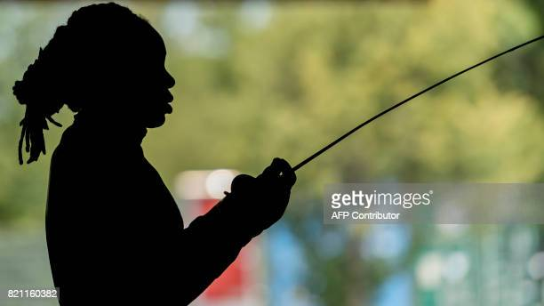 French fencer Anita Blaze prepares to compete in the Individial Women's Epee competition at the World Fencing Championships on July 23 2017 in...