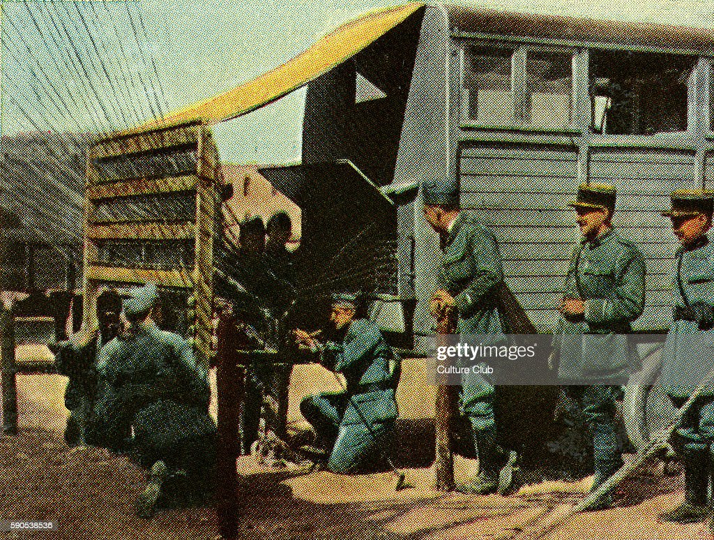 French field telegraph and telephone station for transmission of messages to different troop units Cigarette cards published in Germany c1934...