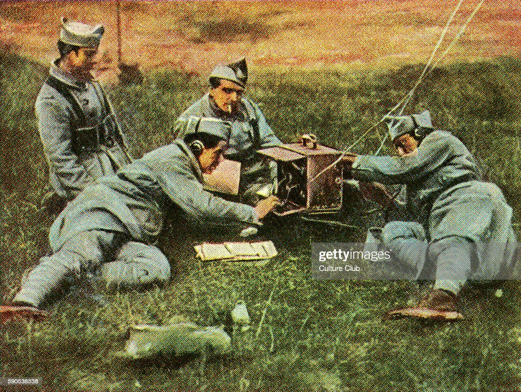 French field telegraph station during transmission of orders and messages Cigarette cards published in Germany c1934 reviewing military equipment in...