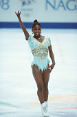 French figure skater Surya Bonaly finishes her free skate program in White Ring during the 1998 Winter Olympic games