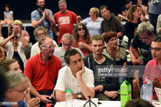 French film director and journalist candidate for La France Insoumise for the legislative elections Francois Ruffin looks on as he speaks in...
