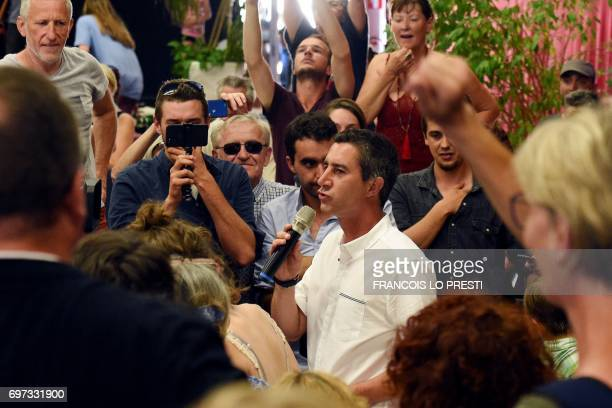 French film director and journalist candidate for La France Insoumise for the legislative elections Francois Ruffin delivers a speech in Flixecourt...