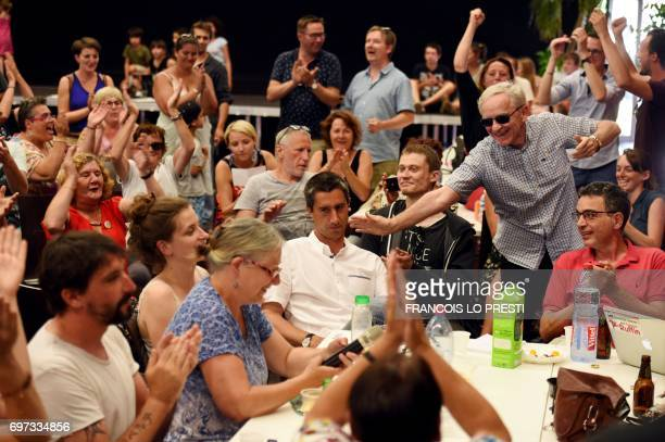 French film director and journalist candidate for La France Insoumise for the legislative elections Francois Ruffin is congratulated in Flixecourt...
