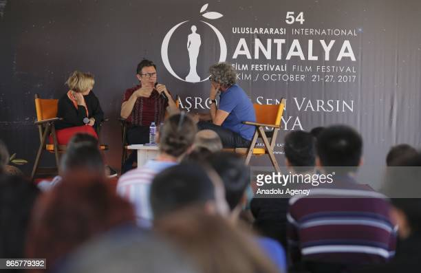 French film director Michel Hazanavicius answers the questions of movie fans after screening of his film 'Redoubtable' during a gathering organized...