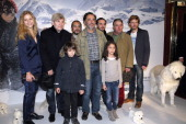 French film director Nicolas Vanier poses with French actors Margaux Chatelier Tcheky Karyo Mehdi El Glaoui Dimitri Storoge Urbain Cancelier Andreas...