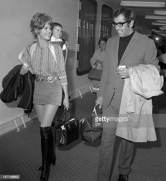 French film director Roger Vadim wife US actress Jane Fonda and their child Vanessa arrive 04 June 1969 in Le Havre harbor northwestern France after...