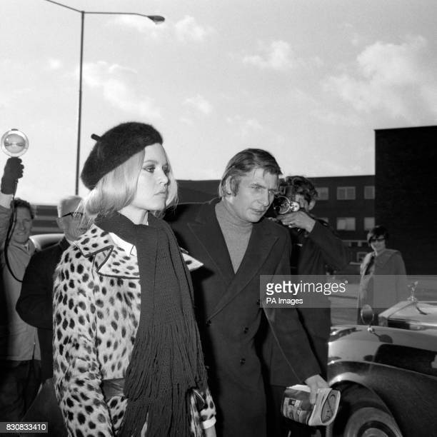 French film star Brigitte Bardot accompanied by her German millionaire husband Gunther Sachs is shown on arrival from Paris at Heathrow Airport