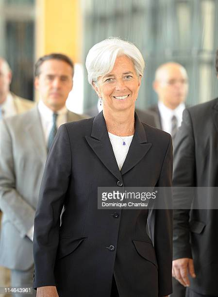 French Finance Minister Christine Lagarde arrives to announce her candidacy for the International Monetary Fund presidency at Ministere des Finances...